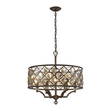 Elk Lighting 31097/6 Crystal Armand 6 Light Pendant In Weathered Bronze