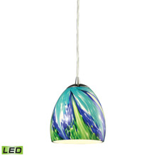 Elk Lighting 31445/1TB-LED Colorwave 1 Light LED Pendant In Satin Nickel And Tropics Glass