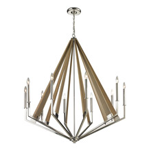 Elk Lighting 31476/10 Madera 10 Light Chandelier In Polished Nickel And Natural Wood