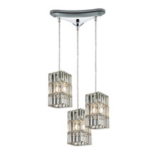 Elk Lighting 31488/3 Crystal Cynthia 3 Light Pendant In Polished Chrome And Clear K9 Crystal