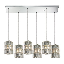 Elk Lighting 31488/6RC Crystal Cynthia 6 Light Pendant In Polished Chrome And Clear K9 Crystal