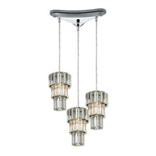 Elk Lighting 31489/3 Crystal Cynthia 3 Light Pendant In Polished Chrome And Clear K9 Crystal