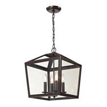 Elk Lighting 31507/4 Alanna 4 Light Semi Flush In Oil Rubbed Bronze And Clear Glass