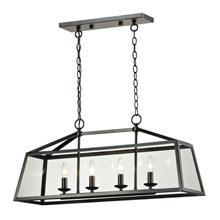 Elk Lighting 31508/4 Alanna 4 Light Rectangular Chandelier In Oil Rubbed Bronze And Clear Glass