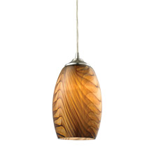 Elk Lighting 31630/1 Tidewaters 1 Light Pendant In Satin Nickel And Amber Glass