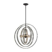 Elk Lighting 31661/6 Crystal Crystal Orbs 6 Light Pendant In Oil Rubbed Bronze