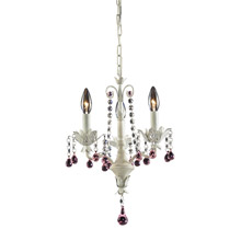 Elk Lighting 4040/3 Crystal Elise 3 Light Chandelier In Antique White