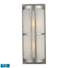 Elk Lighting 42096/2-LED Trevot 2 Light Outdoor LED Wall Sconce In Sunset Silver And Frosted Glass