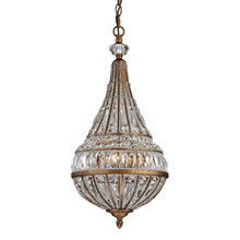 Elk Lighting 46046/3 Crystal Empire 3 Light Pendant In Mocha And Clear Crystal