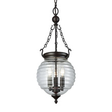 Elk Lighting 56540/3 3-Light Chandelier in Oil Rubbed Bronze with Clear Beehive Glass