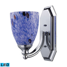 Elk Lighting 570-1C-BL-LED Bath And Spa 1 Light LED Vanity In Polished Chrome And Starburst Blue Glass
