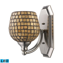 Elk Lighting 570-1C-GLD-LED Bath And Spa 1 Light LED Vanity In Polished Chrome And Gold Leaf Glass