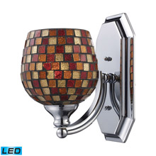 Elk Lighting 570-1C-MLT-LED Bath And Spa 1 Light LED Vanity In Polished Chrome And Multi Fusion Glass