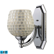Elk Lighting 570-1C-SLV-LED Bath And Spa 1 Light LED Vanity In Polished Chrome And Silver Glass