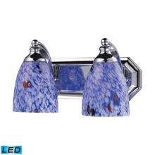 Elk Lighting 570-2C-BL-LED Bath And Spa 2 Light LED Vanity In Polished Chrome And Starburst Blue Glass