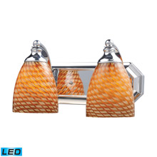 Elk Lighting 570-2C-C-LED Bath And Spa 2 Light LED Vanity In Polished Chrome And Cocoa Glass