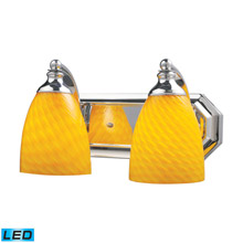 Elk Lighting 570-2C-CN-LED Bath And Spa 2 Light LED Vanity In Polished Chrome And Canary Glass