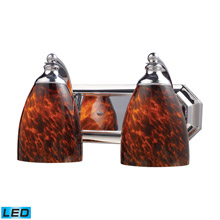 Elk Lighting 570-2C-ES-LED Bath And Spa 2 Light LED Vanity In Polished Chrome And Espresso Glass