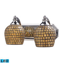 Elk Lighting 570-2C-GLD-LED Bath And Spa 2 Light LED Vanity In Polished Chrome And Gold Leaf Glass