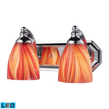 Elk Lighting 570-2C-M-LED Bath And Spa 2 Light LED Vanity In Polished Chrome And Multi Glass