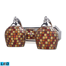 Elk Lighting 570-2C-MLT-LED Bath And Spa 2 Light LED Vanity In Polished Chrome And Multi Fusion Glass