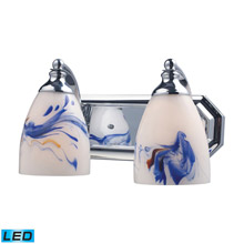Elk Lighting 570-2C-MT-LED Bath And Spa 2 Light LED Vanity In Polished Chrome And Mountain Glass
