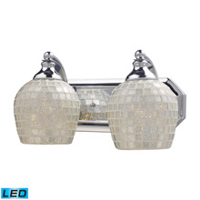 Elk Lighting 570-2C-SLV-LED Bath And Spa 2 Light LED Vanity In Polished Chrome And Silver Glass
