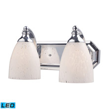 Elk Lighting 570-2C-SW-LED Bath And Spa 2 Light LED Vanity In Polished Chrome And Snow White Glass
