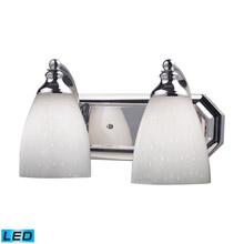 Elk Lighting 570-2C-WH-LED Bath And Spa 2 Light LED Vanity In Polished Chrome And Simple White Glass