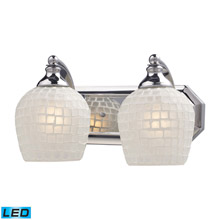 Elk Lighting 570-2C-WHT-LED Bath And Spa 2 Light LED Vanity In Polished Chrome And White Glass