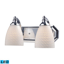 Elk Lighting 570-2C-WS-LED Bath And Spa 2 Light LED Vanity In Polished Chrome And White Swirl Glass
