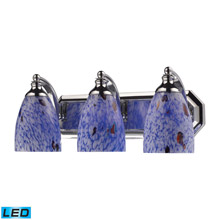 Elk Lighting 570-3C-BL-LED Bath And Spa 3 Light LED Vanity In Polished Chrome And Starburst Blue Glass