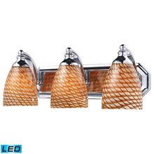Elk Lighting 570-3C-C-LED Bath And Spa 3 Light LED Vanity In Polished Chrome And Cocoa Glass