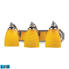 Elk Lighting 570-3C-CN-LED Bath And Spa 3 Light LED Vanity In Polished Chrome And Canary Glass
