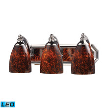 Elk Lighting 570-3C-ES-LED Bath And Spa 3 Light LED Vanity In Polished Chrome And Espresso Glass