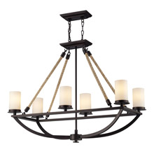 Elk Lighting 63018-6 Natural Rope 6 Light Chandelier In Aged Bronze And White Glass