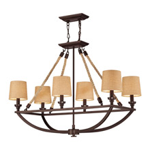 Elk Lighting 63019-6 Natural Rope 6 Light Chandelier In Aged Bronze