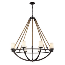 Elk Lighting 63043-8 Natural Rope 8 Light Chandelier In Aged Bronze And White Glass