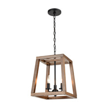 Elk Lighting 81415/3 3-Light Chandelier in Birchwood and Matte Black