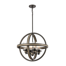 Elk Lighting 89158/4 4-Light Chandelier in Anvil Iron and Distressed Antique Graywood with Seedy Glass