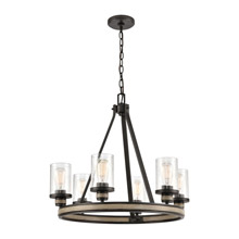 Elk Lighting 89159/6 6-Light Chandelier in Anvil Iron and Distressed Antique Graywood with Seedy Glass