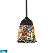 Tiffany Mix-N-Match 1 Light Led Pendant In Tiffany Bronze And Multicolor Glass - Elk Lighting 078-TB-12-LED