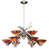 Contemporary Refraction 9 Light Chandelier - Elk Lighting 1476/6+3JAS