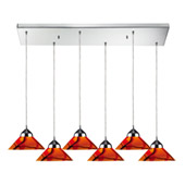 Contemporary Refraction 6 Light Multi Pendant Ceiling Fixture - Elk Lighting 1477/6RC-JAS