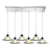 Contemporary Refraction 6 Light Multi Pendant Ceiling Fixture - Elk Lighting 1477/6RC