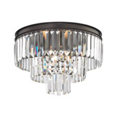 Crystal Palacial 3 Light Semi Flush In Oil Rubbed Bronze - Elk Lighting 15225/3