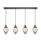 Bartram 4 Light Pendant In Oil Rubbed Bronze And Antique Brass - Elk Lighting 16325/4LP