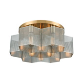 Compartir 7-Light Semi Flush Mount in Satin Brass with Perforated Metal - Elk Lighting 21109/7