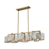 Compartir 10-Light Linear Chandelier in Satin Brass with Perforated Metal Shades - Elk Lighting 21114/10