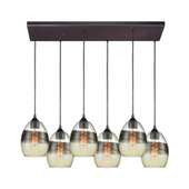 Whisp 6-Light Rectangular Pendant Fixture in Oil Rubbed Bronze with Champagne-plated Glass - Elk Lighting 25122/6RC